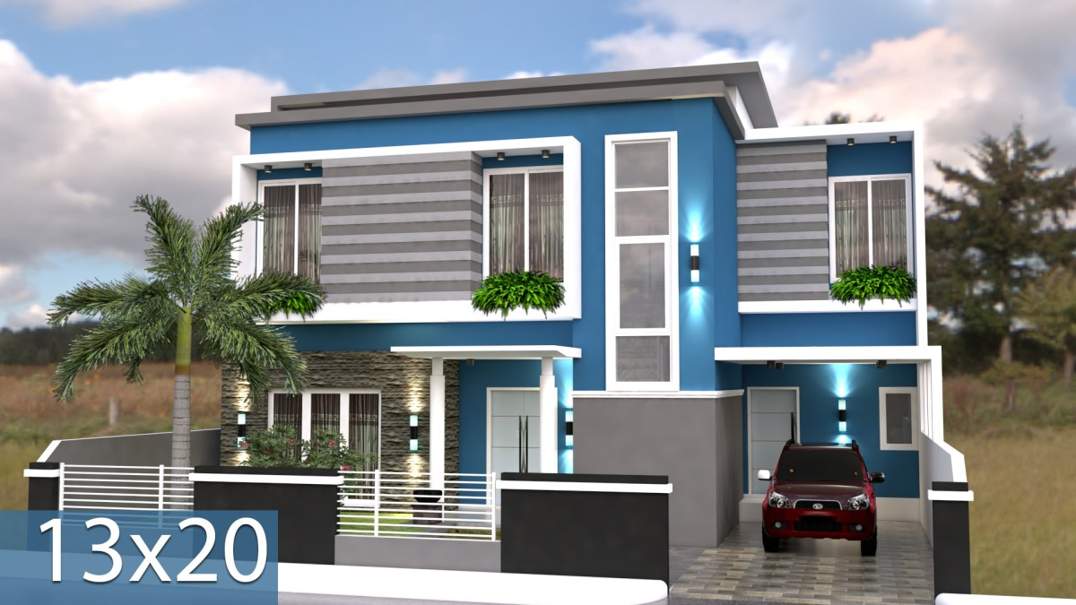 3d Home Design Plan 13x20m with Full Plan 6 Bedrooms