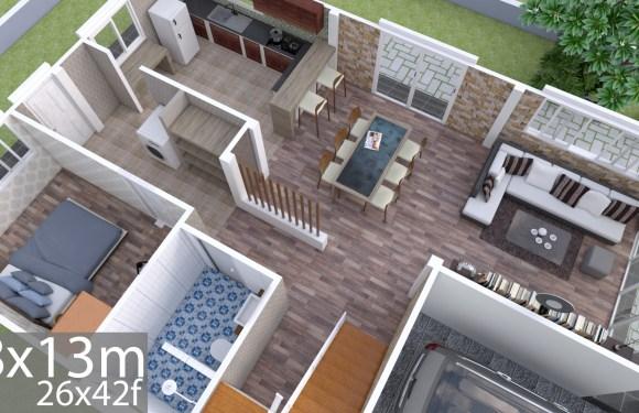 Plan 3D Interior Design Home Plan 8x13m Full Plan 3Beds