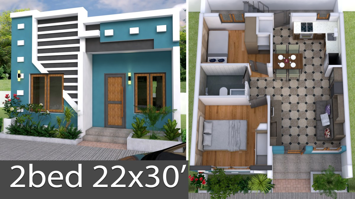 3D Simple House Plan with Two Bedrooms 22x30 Feet