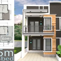 Home Design Plan 7x15m with 5 Bedrooms