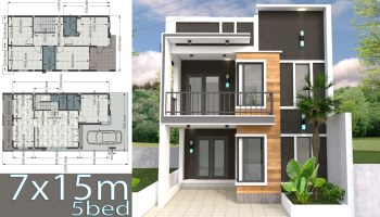 Home Design Plan 6 5x7 5m 2 Bedrooms Samphoas Plan