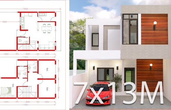 House design Plan 7x13m with 3 Bedrooms