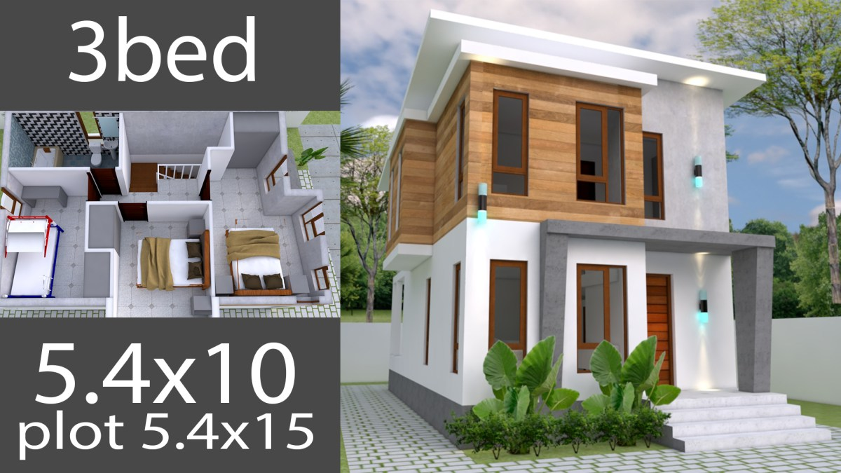 Small Home design Plan 5.4x10m with 3 Bedroom
