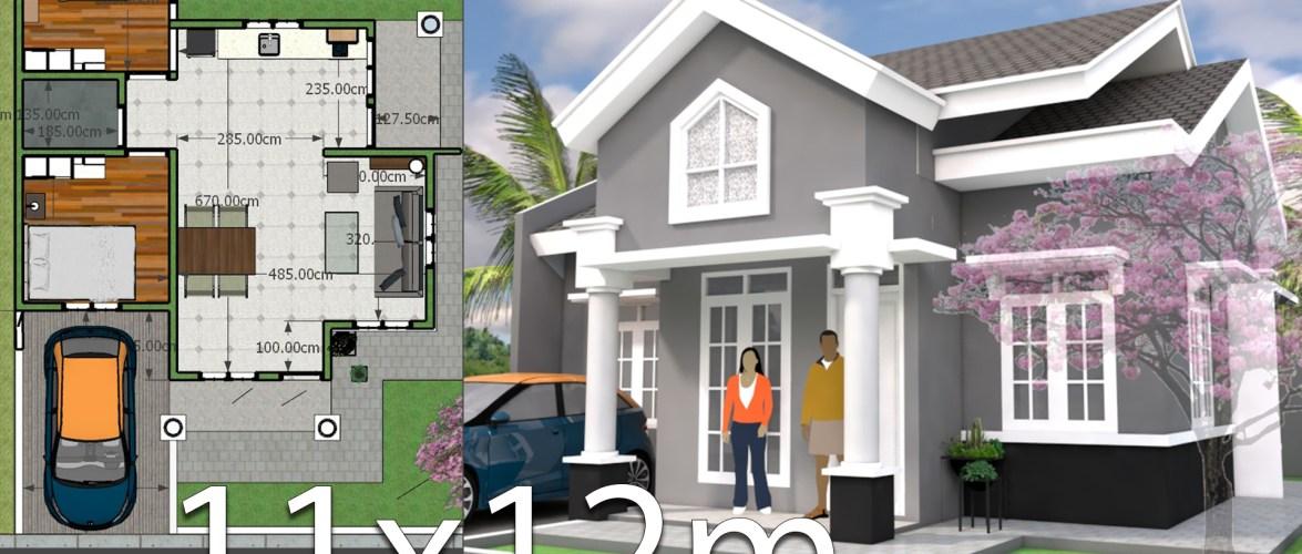 Plan 3d Home Design 11x12m 2bedrooms