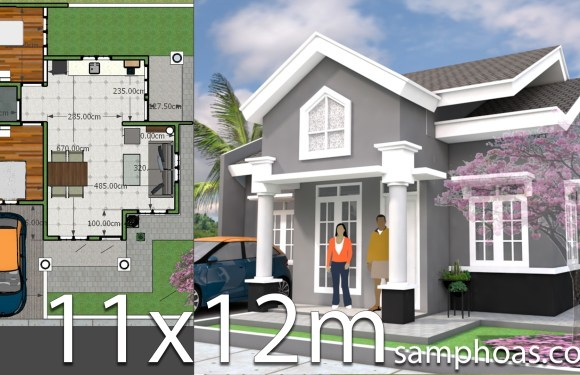 Plan 3d Home Design 11x12m 2bedrooms