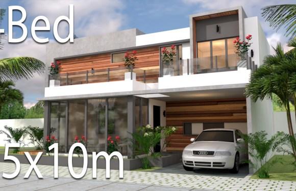 Plan 3d Home Design 15x10m 4Bedrooms