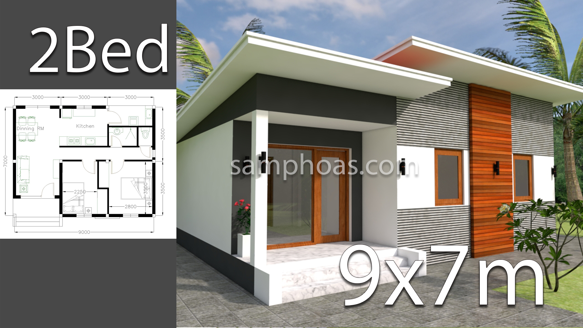 Plan 3d Home Design 9x7m 2 Bedrooms - SamPhoas Plan