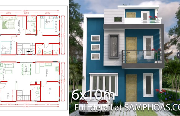 Sketchup Home Design Plan 6x10m with 4 Rooms