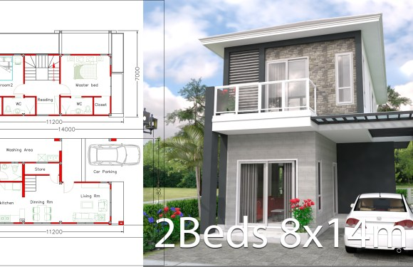 House design plan 8x14m with 2 bedrooms