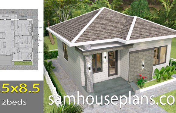 House plans 7.5×8.5 with 2 bedrooms