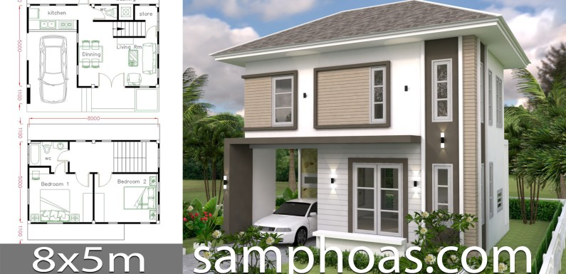 Home design Plan 8x5m with 2 bedrooms