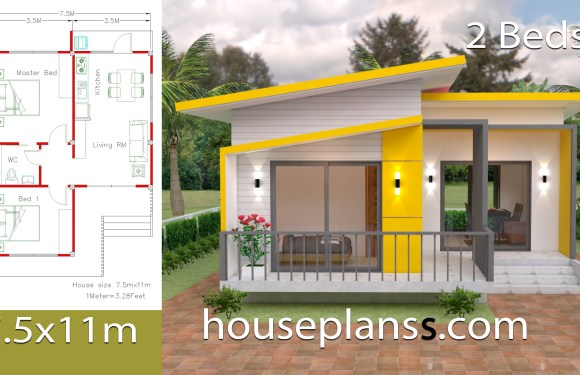 House Design Plans 7×12 with 2 Bedrooms Full Plans