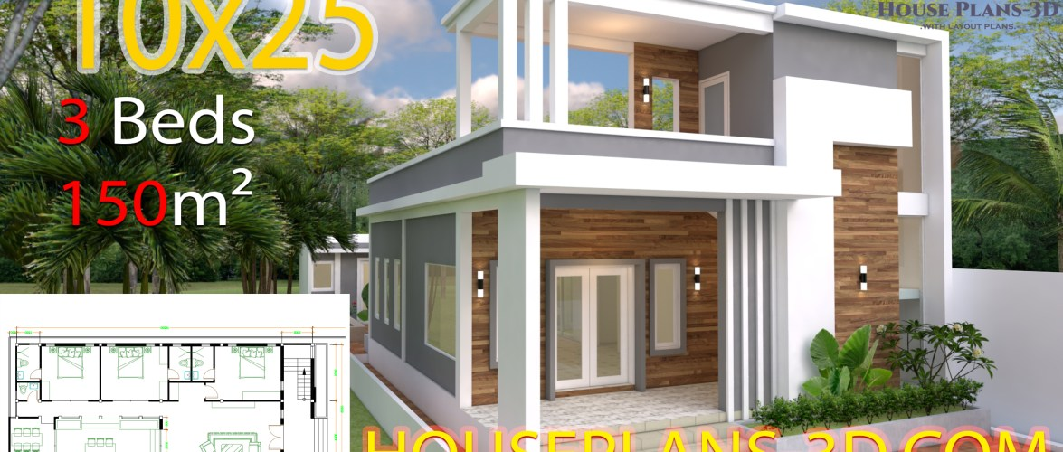 House Design Plans 10×25 with 3 bedrooms