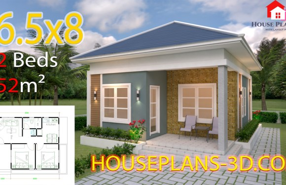 House Plans 6.5×8 with 2 Bedrooms Hip Roof