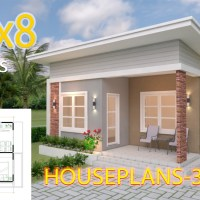 House Plans 6.5x8 with 2 Bedrooms Shed Roof