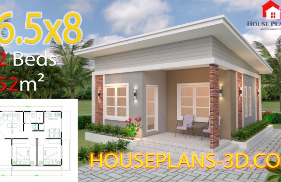 House Plans 6.5×8 with 2 Bedrooms Shed Roof