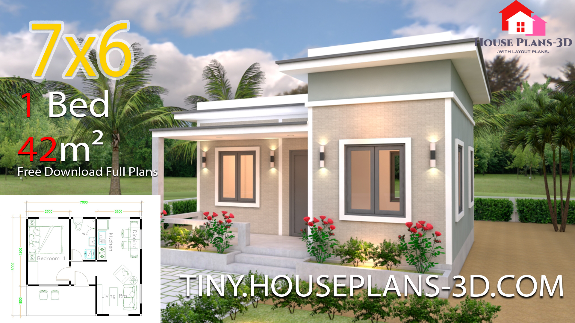 House Plans 7x6 With One Bedroom Flat Roof Samphoas Plan