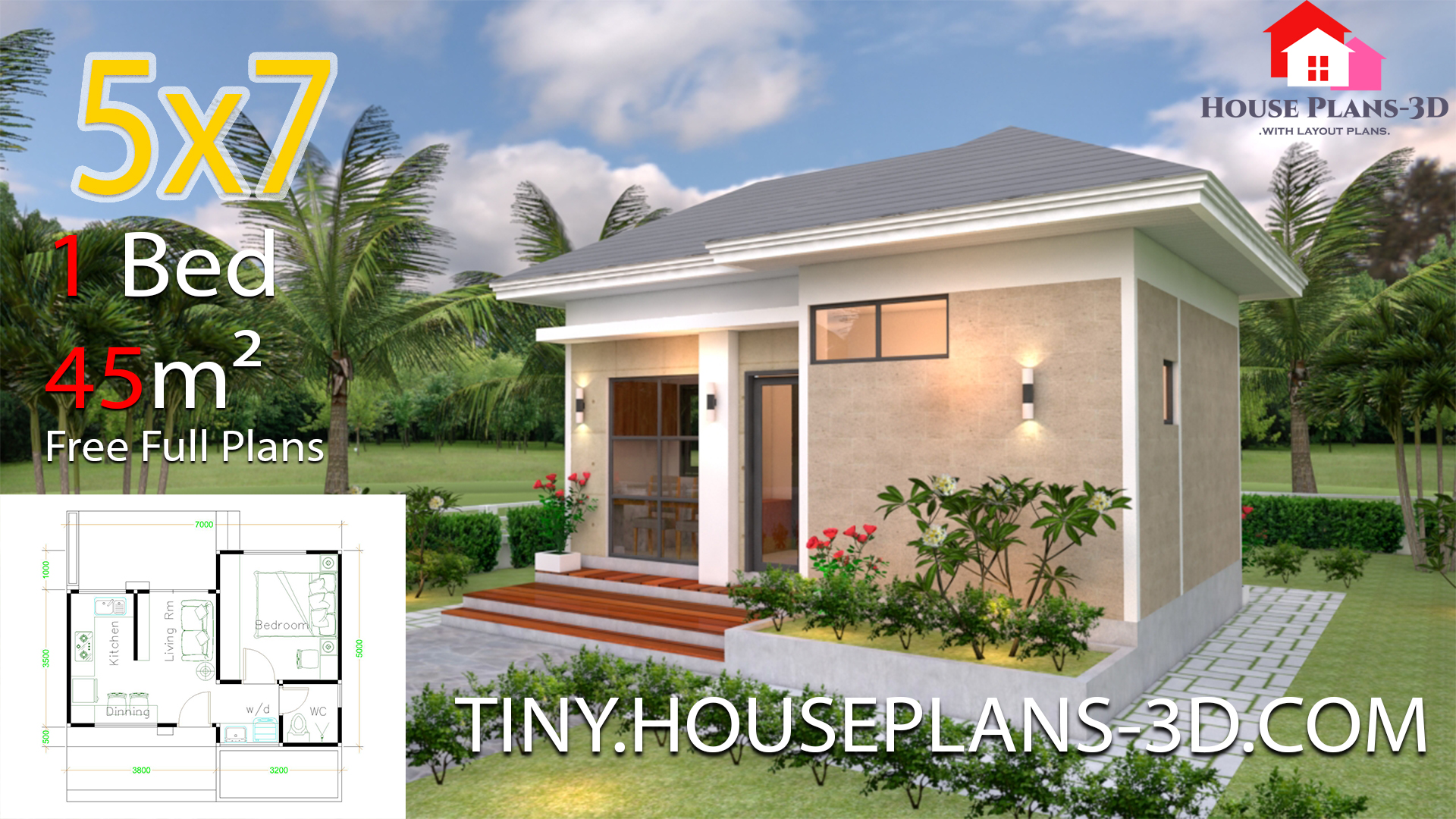 Small House Plans 5x7 With One Bedroom Hip Roof Samphoas Plan