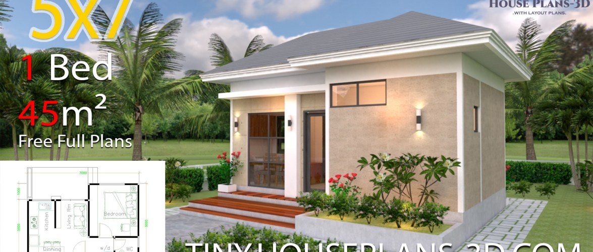 Small House Plans 5×7 with One Bedroom Hip Roof