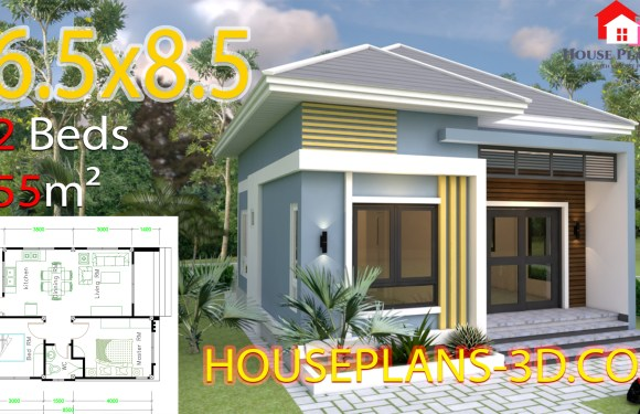 House Design 6.5×8.5 With 2 Bedrooms Hip roof
