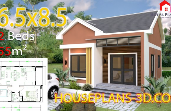 House Design plans 6.5×8.5 With 2 Bedrooms Shed roof