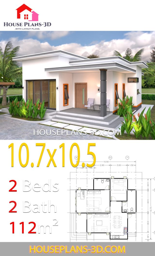 House Plans 10.7x10.5 with 2 Bedrooms Flat roof - SamPhoas ...