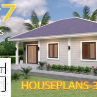 House Design Plans 9x7 with 2 Bedrooms Hip Roof