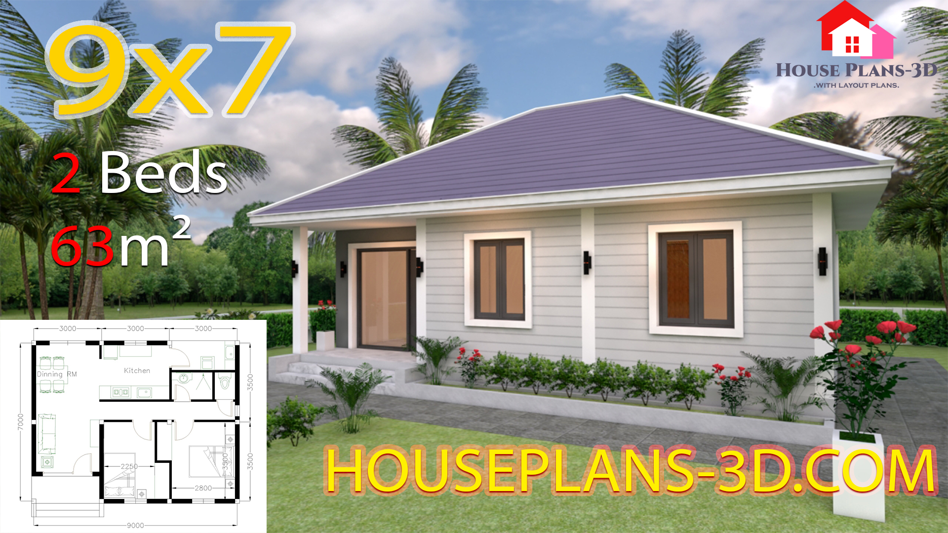 House Design Plans 9x7 with 2 Bedrooms Hip Roof - SamPhoas Plan
