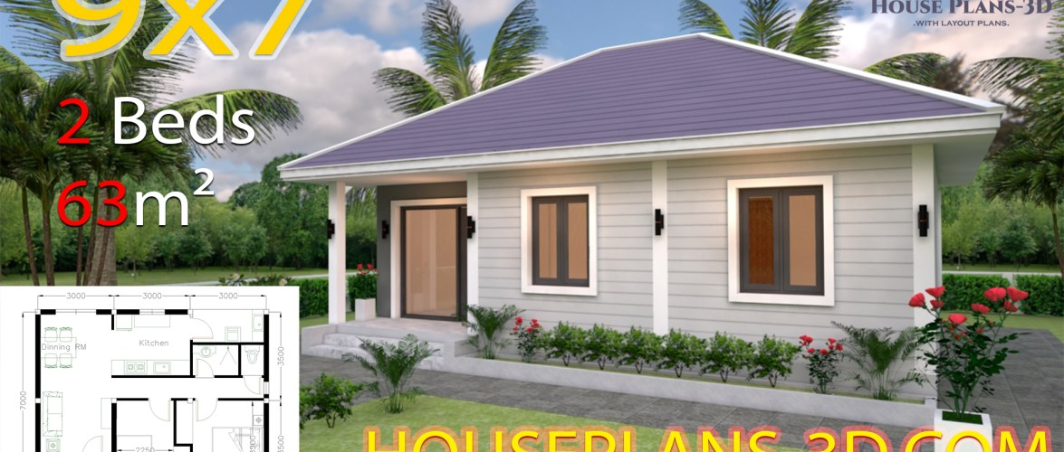 House Design Plans 9×7 with 2 Bedrooms Hip Roof