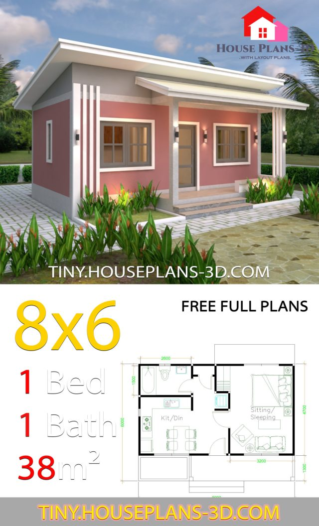 House Plans 8x6 with One Bedrooms Shed roof - SamPhoas Plan