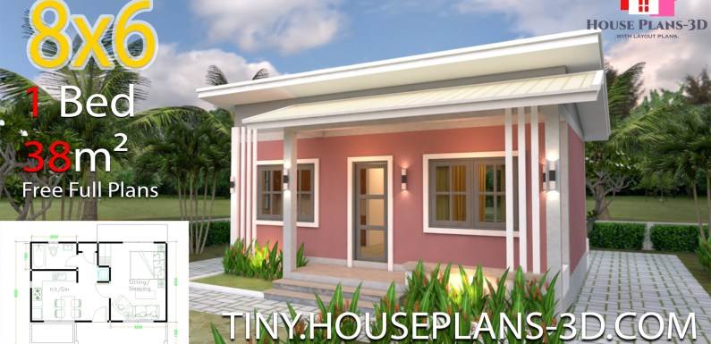 House Plans 8×6 with One Bedrooms Shed roof