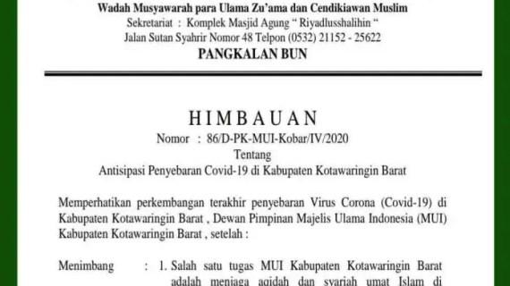 MUI Kobar Keluarkan Surat Edaran Tidak Melaksanakan Salat Tarawih dan Id di Masjid