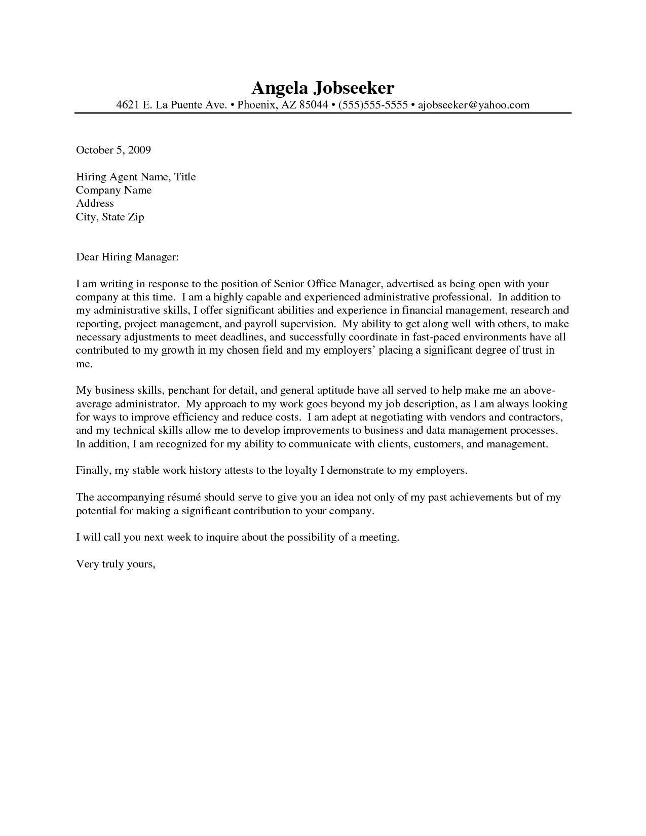 Administrative Assistant Cover Letter Examples Entry Level