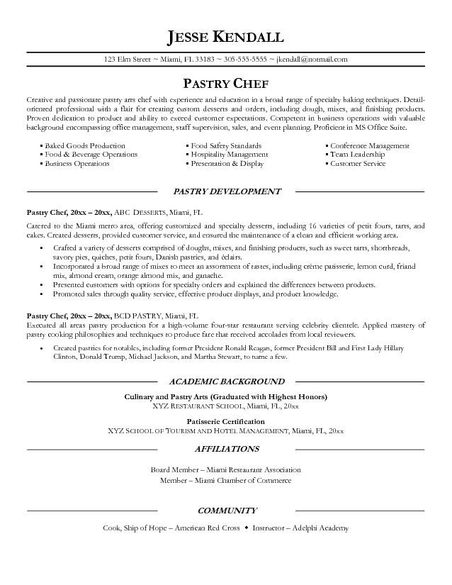 pastry chef resume objective examples academic background of - Chef Resume Template