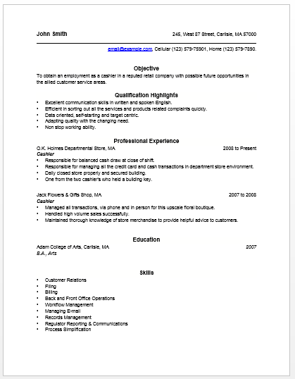Unforgettable Part Time Cashiers Resume Examples ...