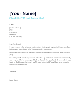 Cover Letter Template For Resume Exles Templates