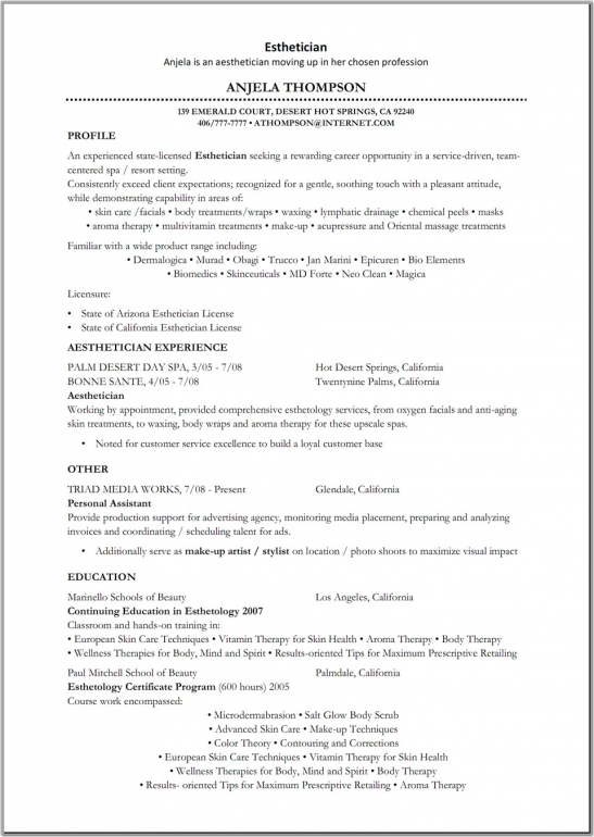 new esthetician resume objectives general objective statement for - New Esthetician Resume