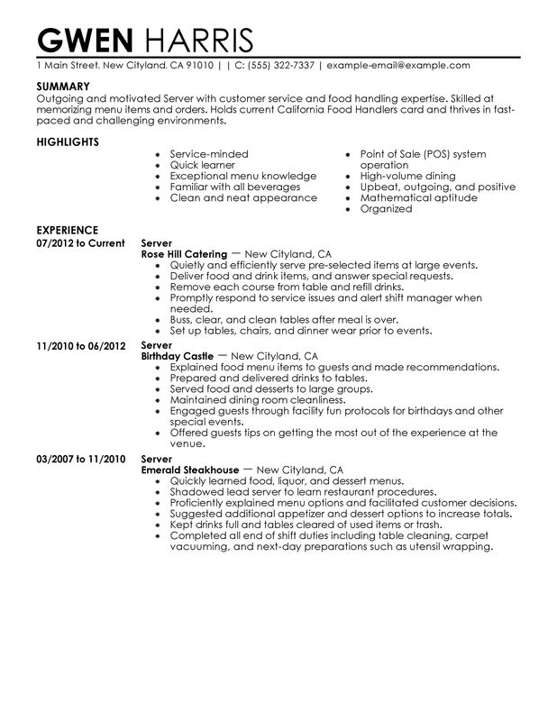 cocktail server resume and resume for cocktail waitress sample job