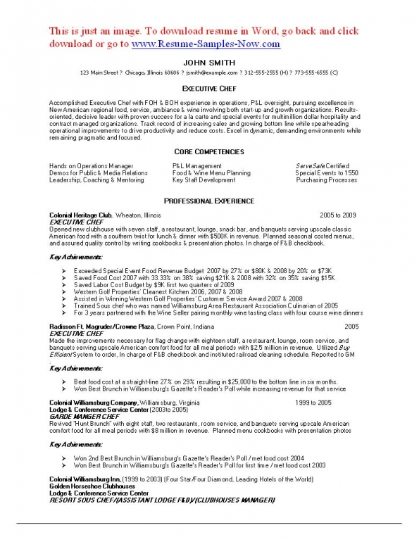 Executive chef resume sample example 9 resume for chefs examples chef resume template cly resumes 11 chef resume sample executive yelopaper Gallery