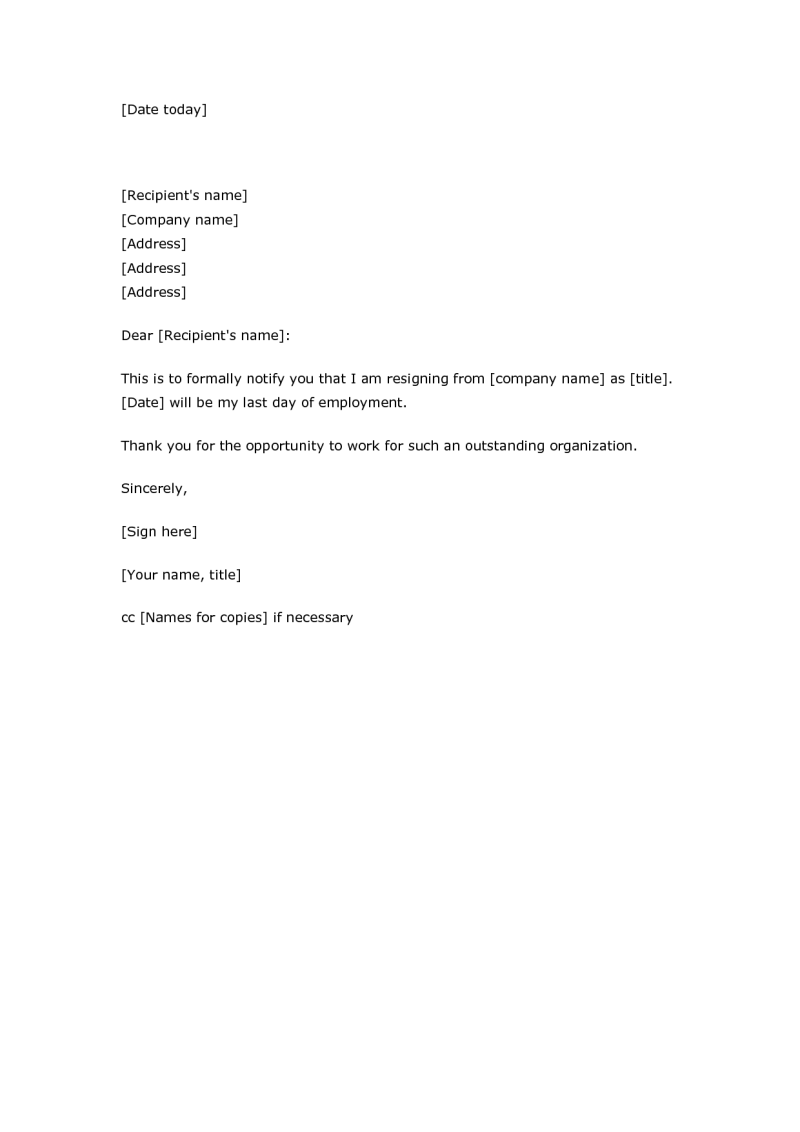 resignation letter sample blank template