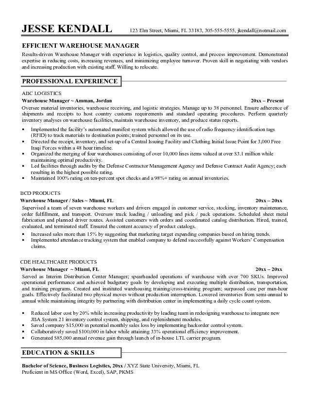 general warehouse worker resume sample samplebusinessresume com