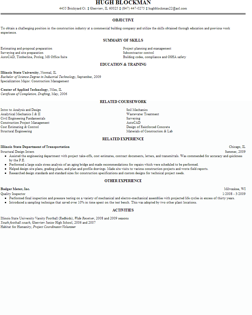 Entry Level Construction Resume - Best Resume Templates