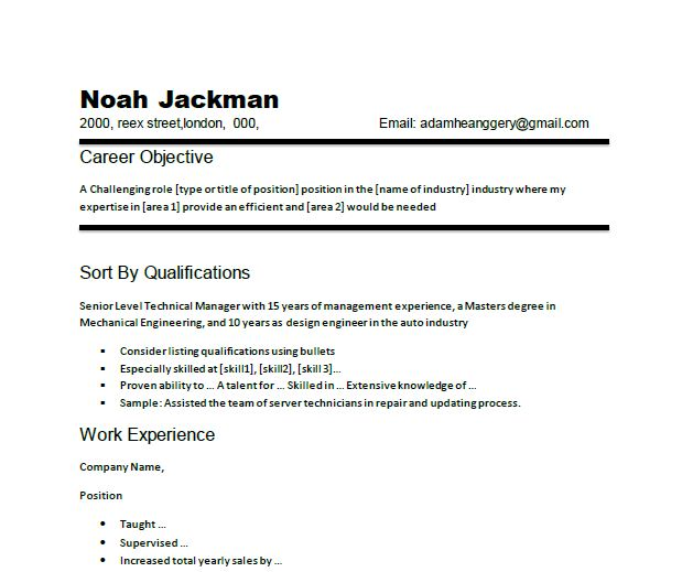 Resume Examples For Any Job Resume Format Download Pdf. Job