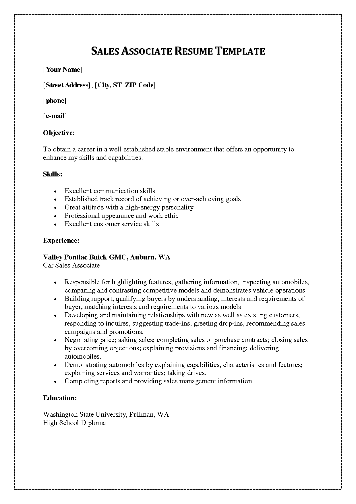 Resume Salesperson Clothes Templates Associate My Perfect