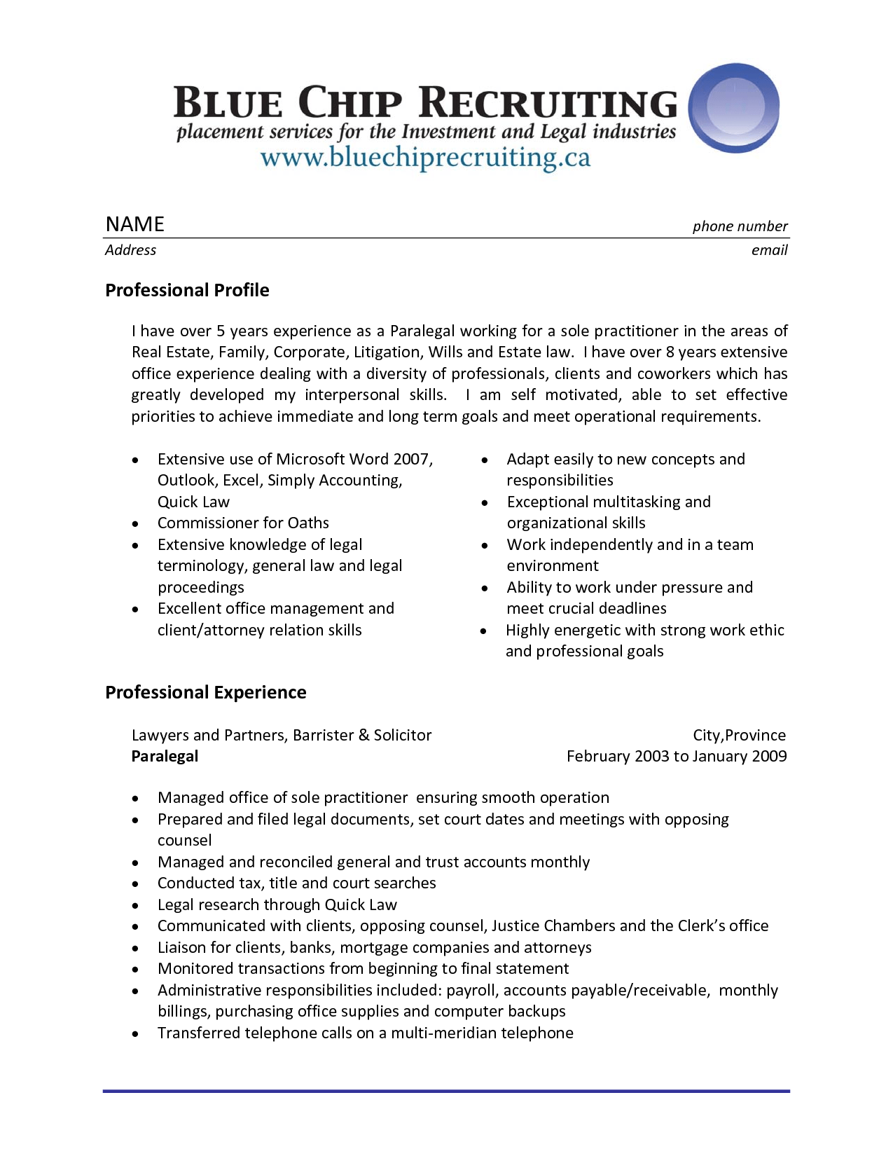 example of paralegal resume