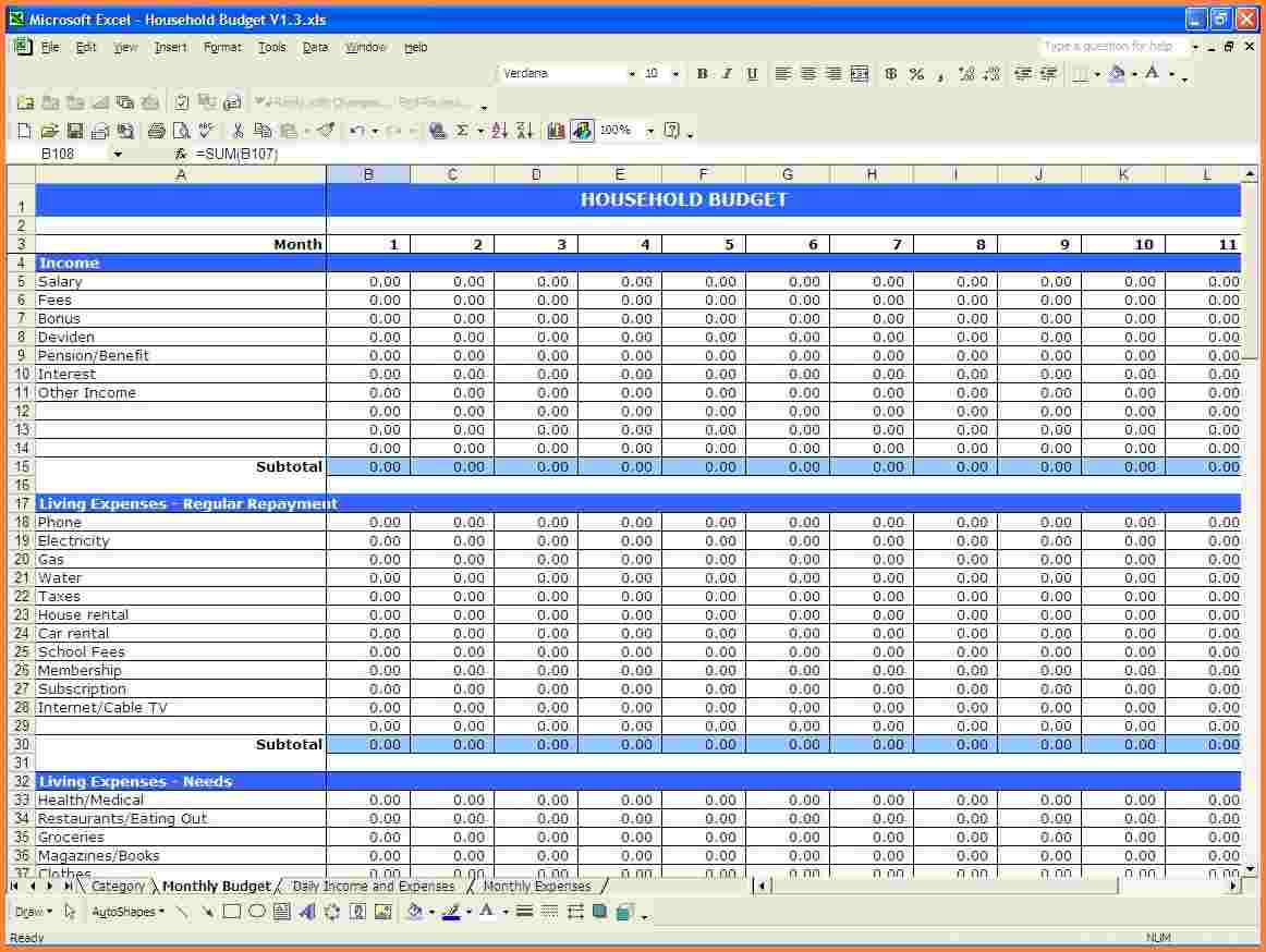 Personal Income And Expenses Spreadsheet Template Excel