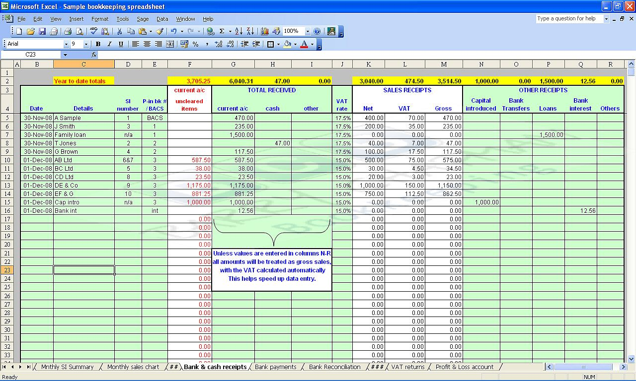 Free Excel Bookkeeping Spreadsheet Templates