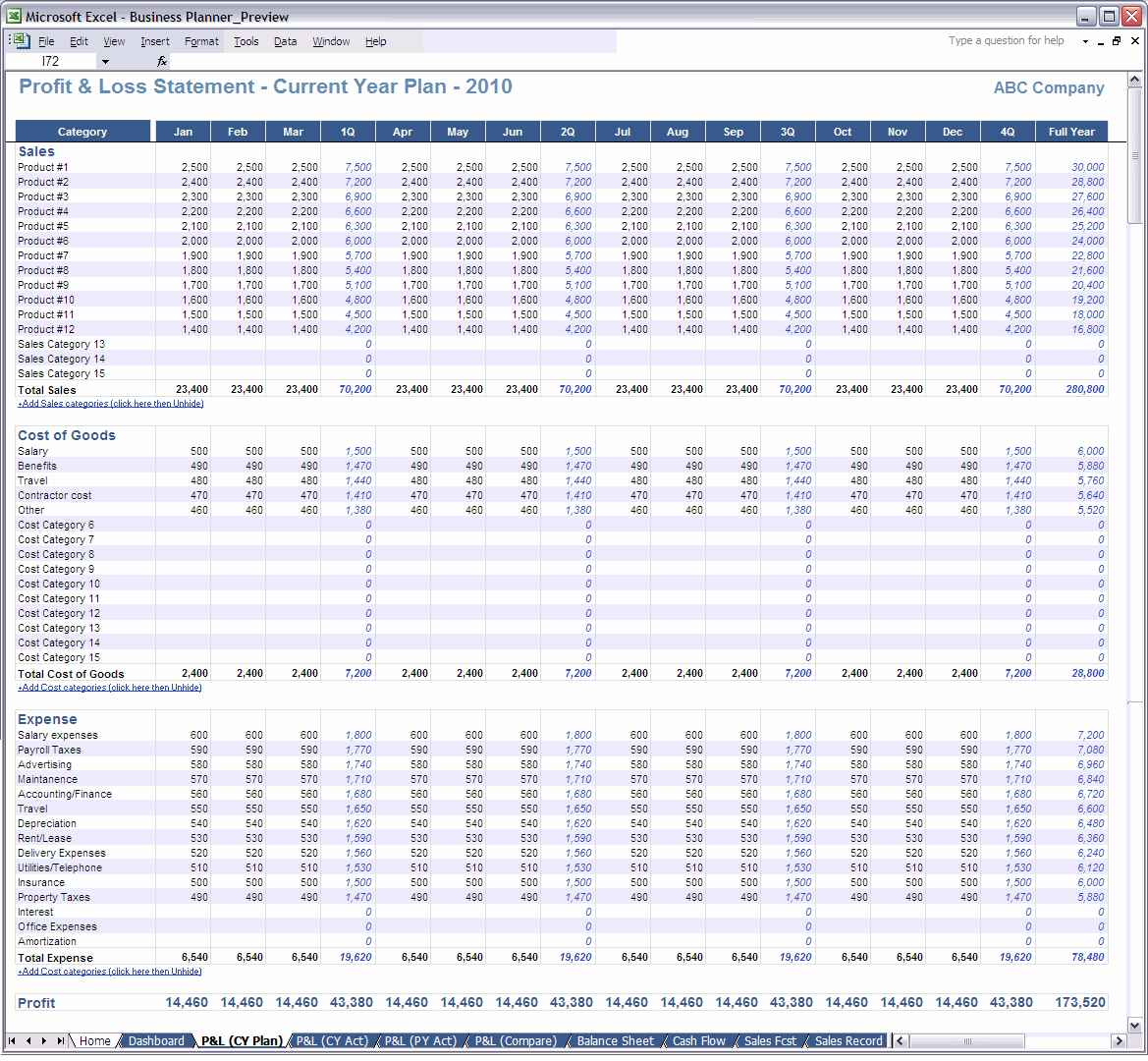 Trucking Profit And Loss Spreadsheet