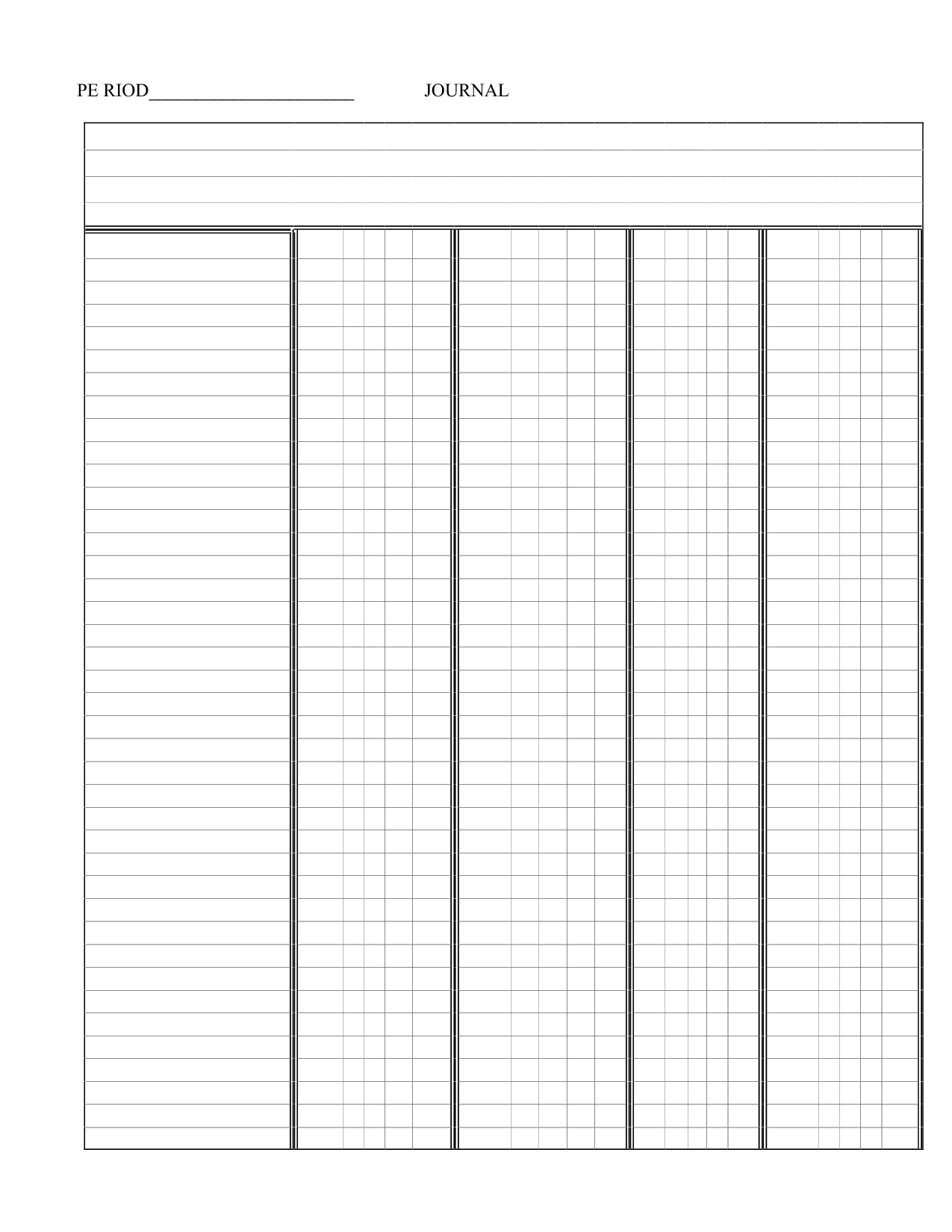 Printable Blank 5 Column Chart Templates