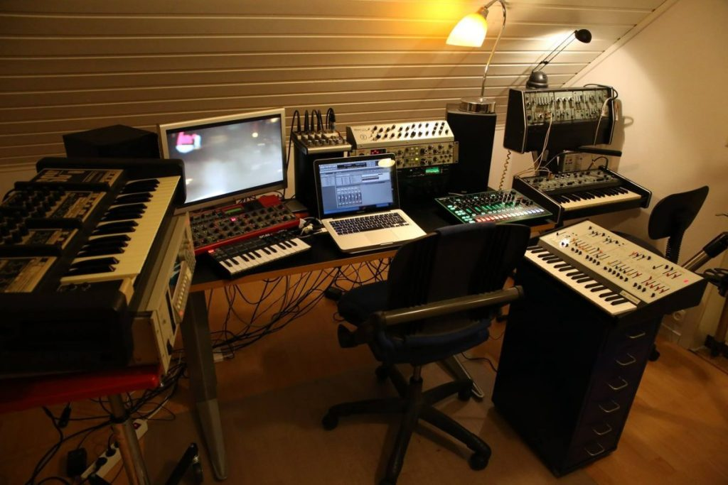 A studio with an Akai sampler